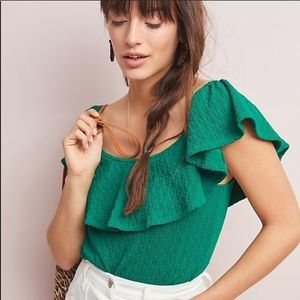 Anthropologie Kelly Green Ruffle Sleeve Top Small